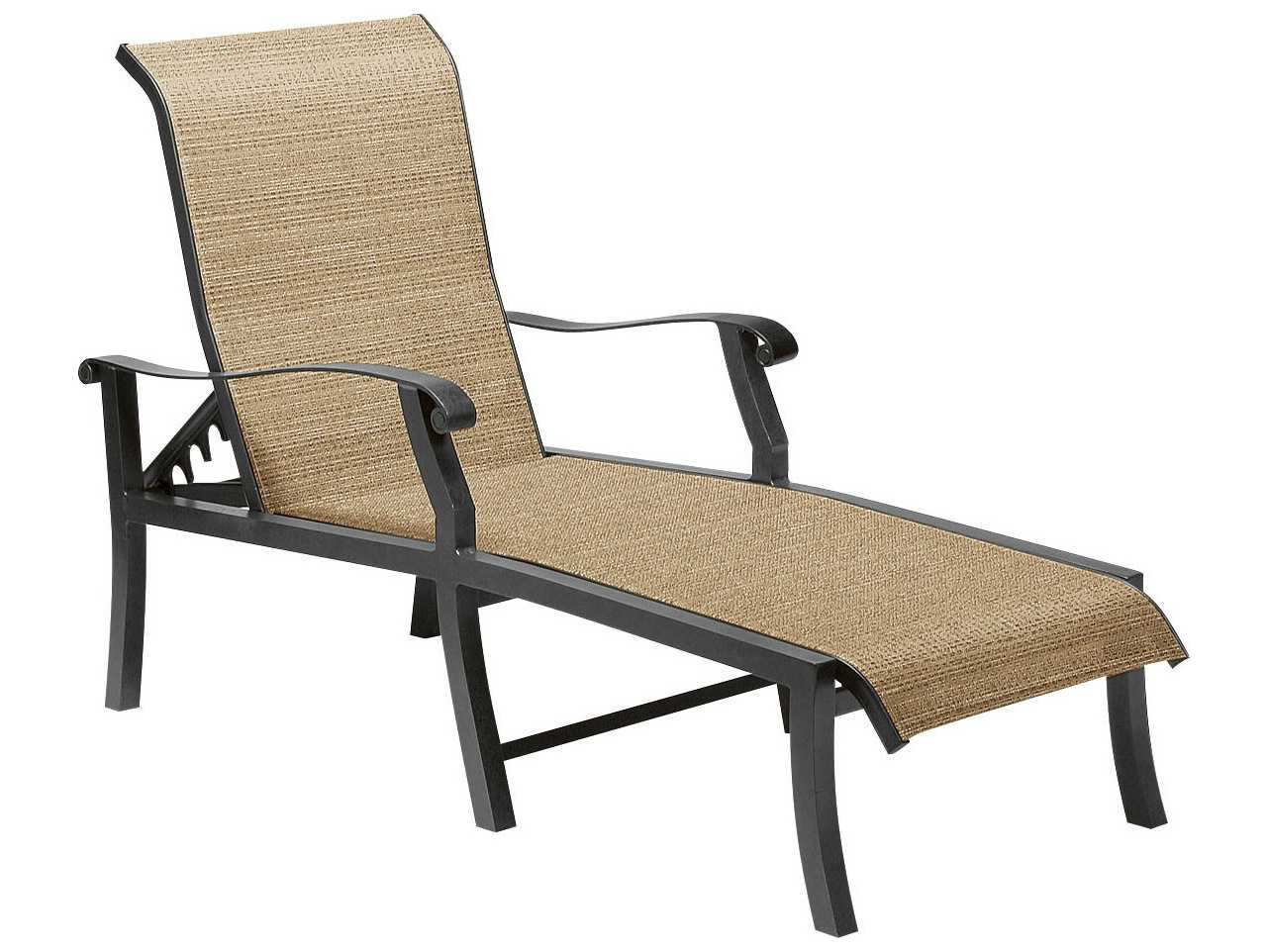 woodard cortland sling aluminum adjustable chaise lounge 42h470