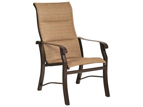 Woodard Cortland Padded Sling Aluminum High Back Dining Arm Chair