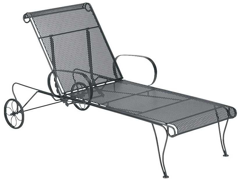 Woodard universal adjustable chaise lounge 460070 for Black wrought iron chaise lounge