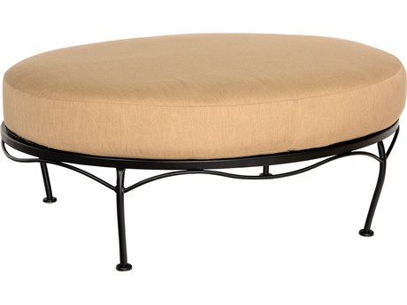 Woodard Terrace Cushion Wrought Iron Oval Ottoman