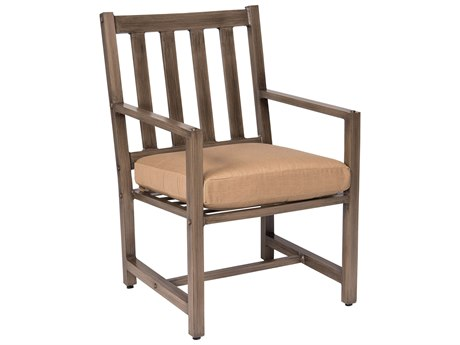 Woodard Woodlands Aluminum Dining Arm Chair with Back Cushion