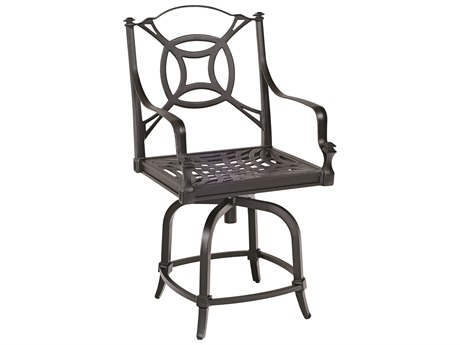 Woodard Isla Aluminum Swivel Counter Stool w/ Seat & Back Cushion