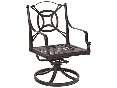 Woodard Isla Cast Aluminum Swivel Rocker Dining Arm Chair