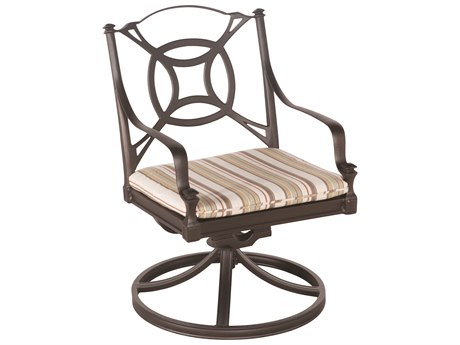 Woodard Isla Aluminum Swivel Rocker Dining Arm Chair w/ Seat Cushion