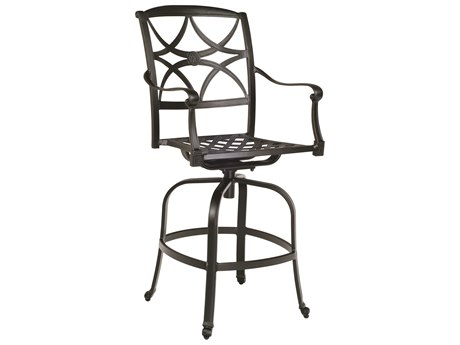 Woodard Wiltshire Aluminum Swivel Bar Stool w/ Seat Cushion