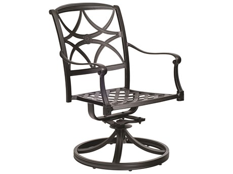Woodard Wiltshire Aluminum Swivel Rocker Dining Arm Chair w/ Seat Cushion