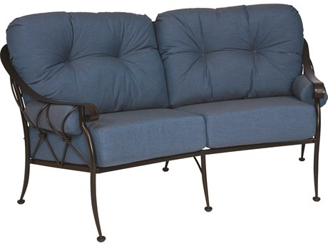 Woodard Derby Wrought Iron Crescent Loveseat with Cushions & Bolsters