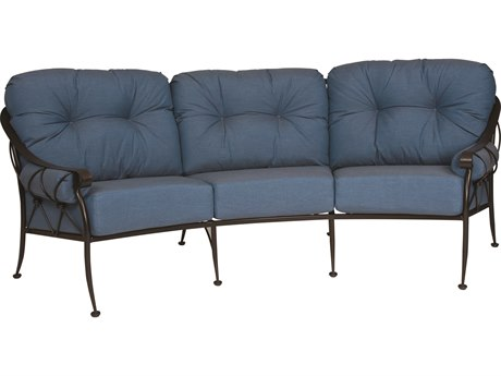 Woodard Derby Wrought Iron Crescent Sofa with Cushions & Bolsters PatioLiving