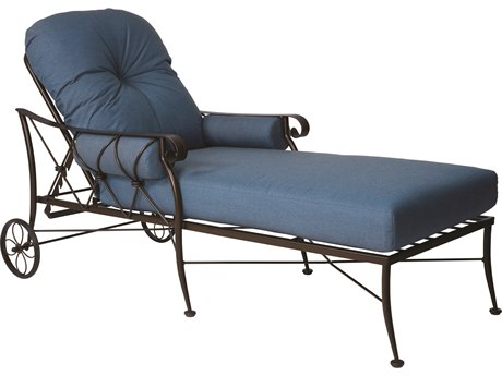 Woodard Derby Wrought Iron Cushion Chaise Lounge