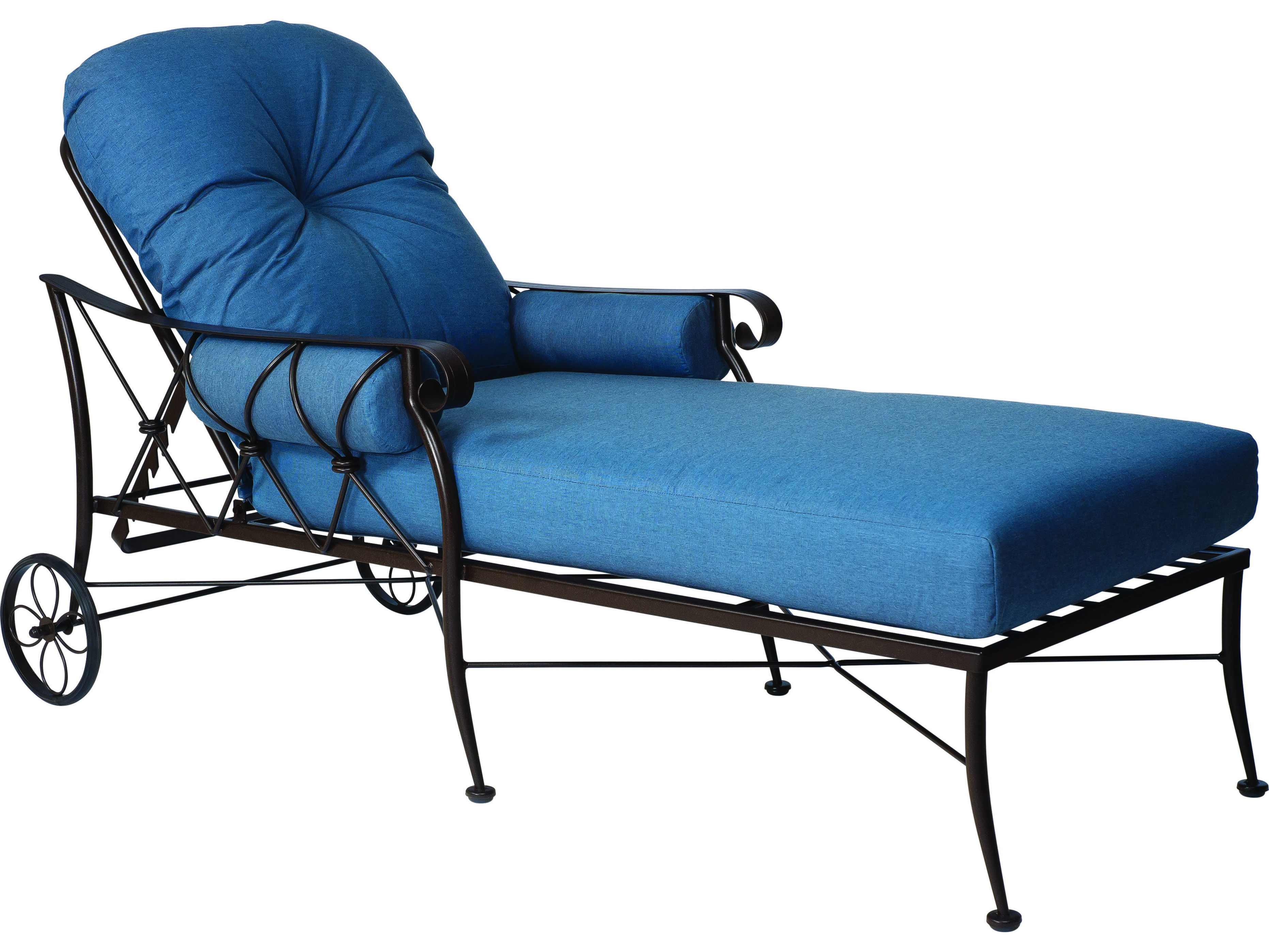 Woodard derby wrought iron cushion adjustable chaise for Chaise lounge construction