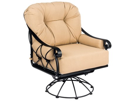 Woodard Derby Wrought Iron Cushion Swivel Rocking Lounge Chair