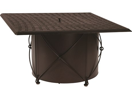 Woodard Universal Iron Chat Height Round Fire Table Base with Square Burner Derby Accents