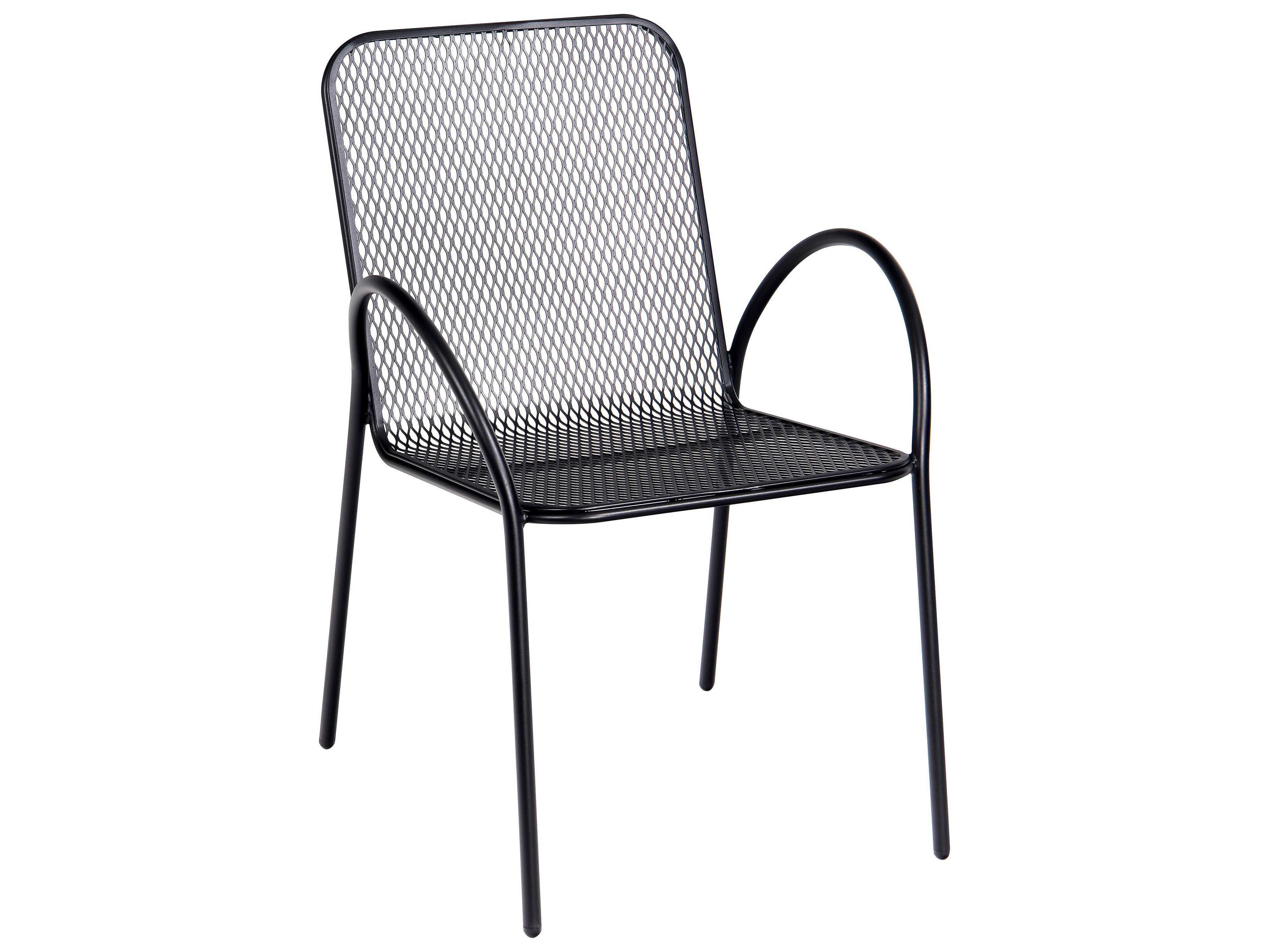 Wrought Iron Barrel Chair Outdoor Cushions: Woodard Avalon Wrought Iron Stackable Dining Arm Chair
