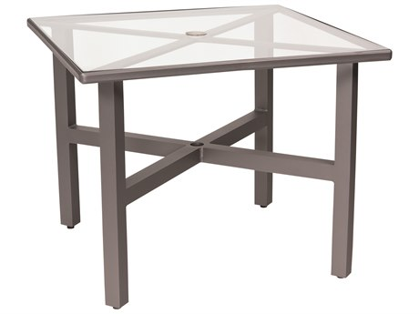 Woodard Elite Aluminum 36 Square Clear Glass Top Table with Umbrella Hole