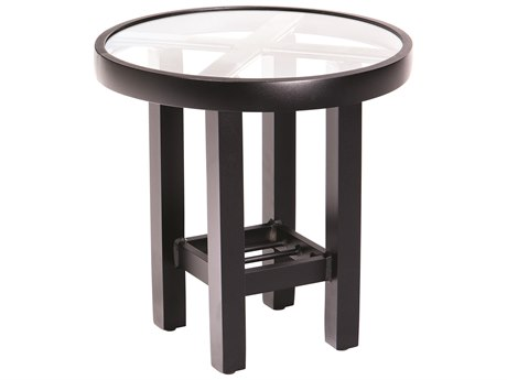 Woodard Elite Aluminum 18 Round End Table with Clear Glass Top