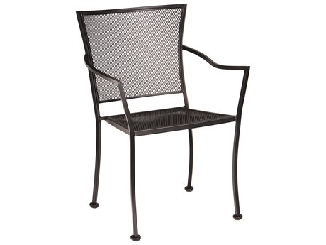 Woodard Amelie Wrought Iron Bistro Arm Chair with Cushion