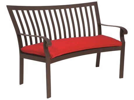 Woodard Cortland Aluminum Crescent Bench with Cushion