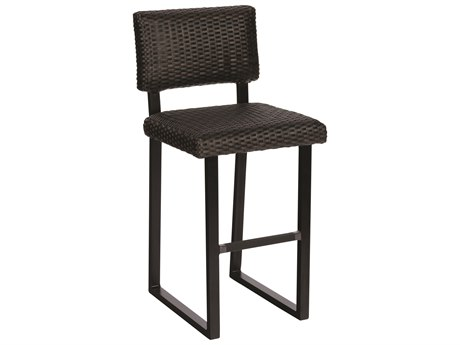 Woodard Martine Black Olive Wicker Bar Stool