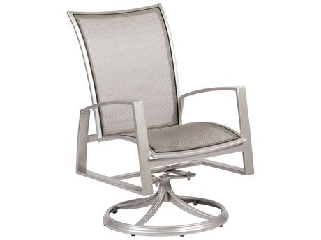 Woodard Wyatt Flex Aluminum Swivel Rocker Dining Chair