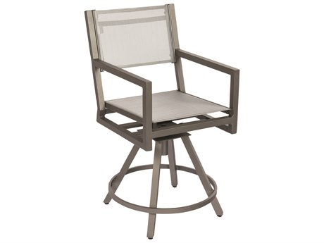 Woodard Palm Coast Sling Aluminum Swivel Counter Stool