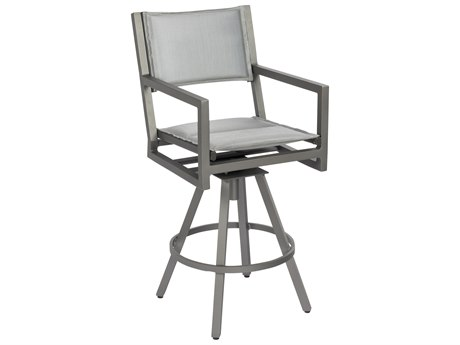 Woodard Palm Coast Padded Sling Aluminum Swivel Bar Stool