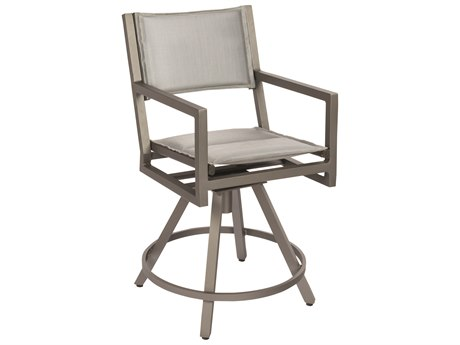 Woodard Palm Coast Padded Sling Aluminum Swivel Counter Stool