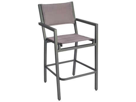 Woodard Palm Coast Padded Sling Aluminum Bar Stool with Arms