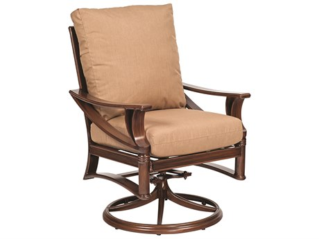 Woodard Arkadia Cushion Aluminum Swivel Rocker Dining Arm Chair