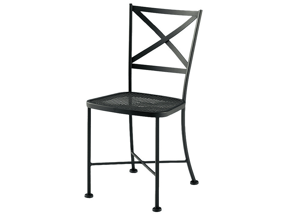 Woodard cafe classics genoa wrought iron stackable dining for Wrought iron cafe chairs