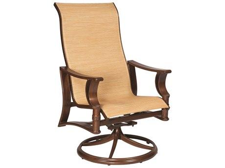 Woodard Arkadia Sling Aluminum High Back Swivel Rocker Dining Arm Chair