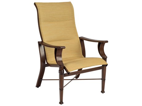 Woodard Arkadia Padded Sling Aluminum High Back Dining  Arm Chair