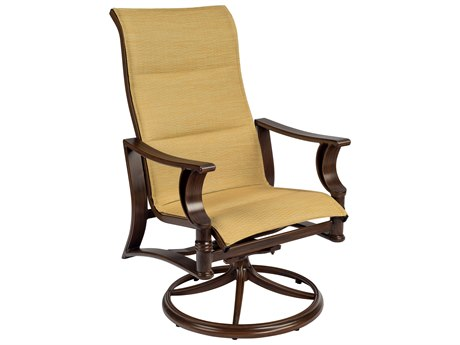 Woodard Arkadia Padded Sling Aluminum High Back Swivel Rocker Dining Arm Chair