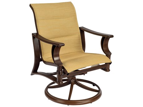 Woodard Arkadia Padded Sling Aluminum Swivel Rocker Dining Chair