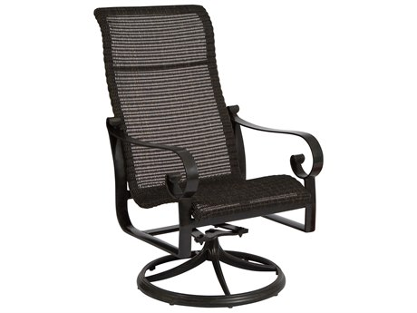 Woodard Belden Woven Round Weave Wicker Swivel Rocker Dining Chair