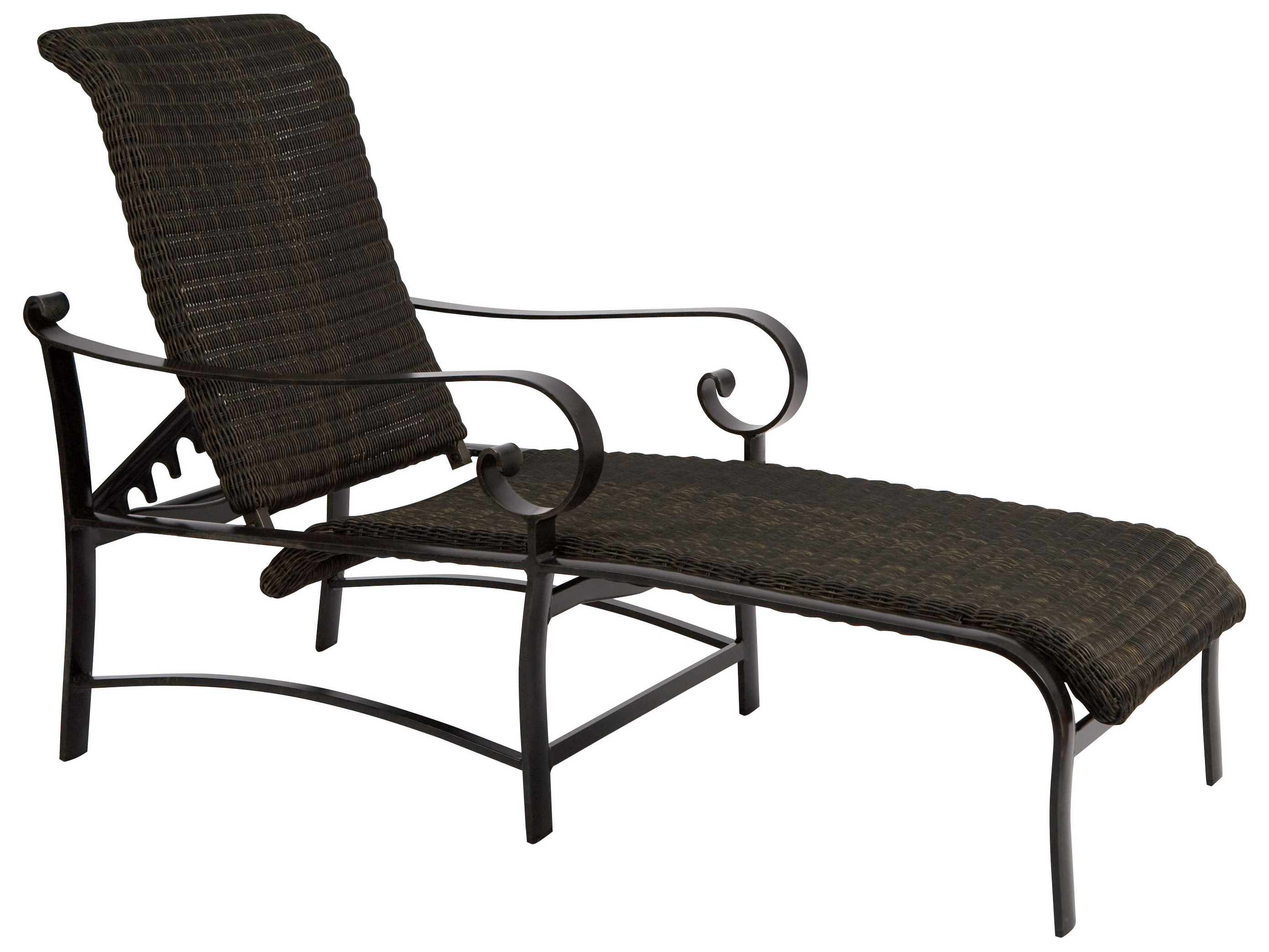 Woodard belden woven round weave wicker adjustable chaise for Chaise lounge construction