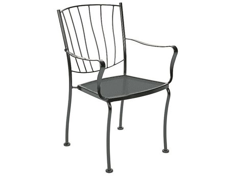 Woodard Aurora Wrought Iron Stackable Dining Arm Chair