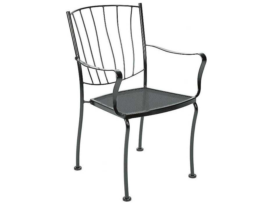 Iron Dining Chairs ~ Woodard aurora wrought iron stackable dining arm chair