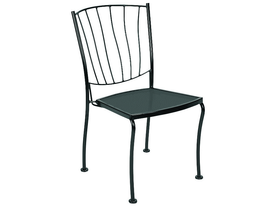 Wrought Iron Barrel Chair Outdoor Cushions: Woodard Aurora Wrought Iron Dining Side Chair