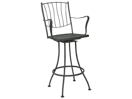 Woodard Aurora Wrought Iron Swivel Bar Stool WR5L0388