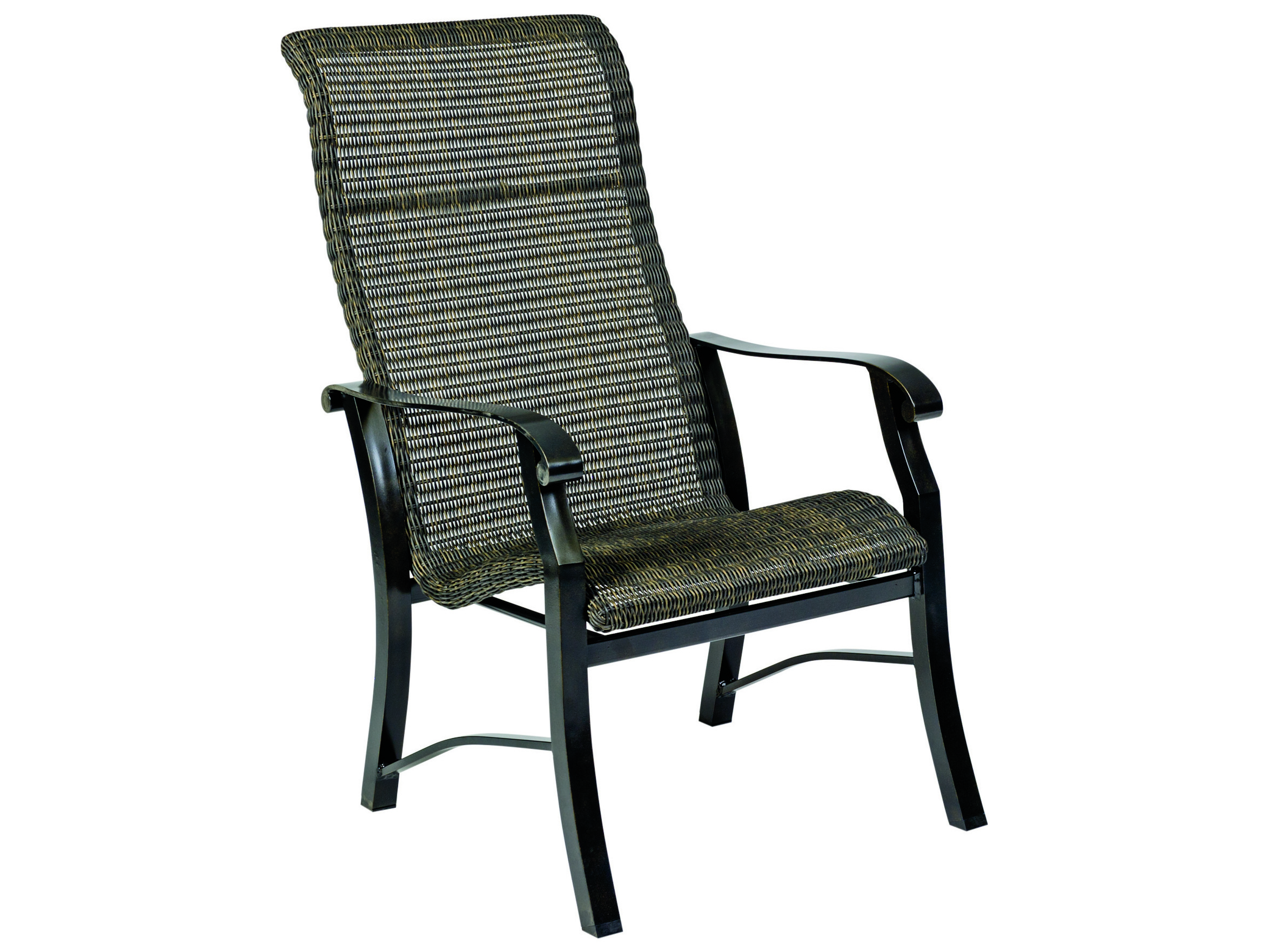 High Back Patio Furniture: Woodard Cortland Woven Round Weave Wicker High Back Dining