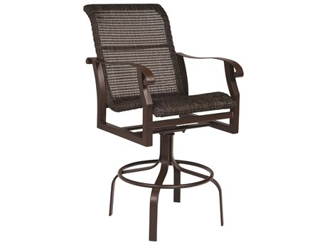 Woodard Cortland Woven Round Weave Wicker Swivel Bar Stool