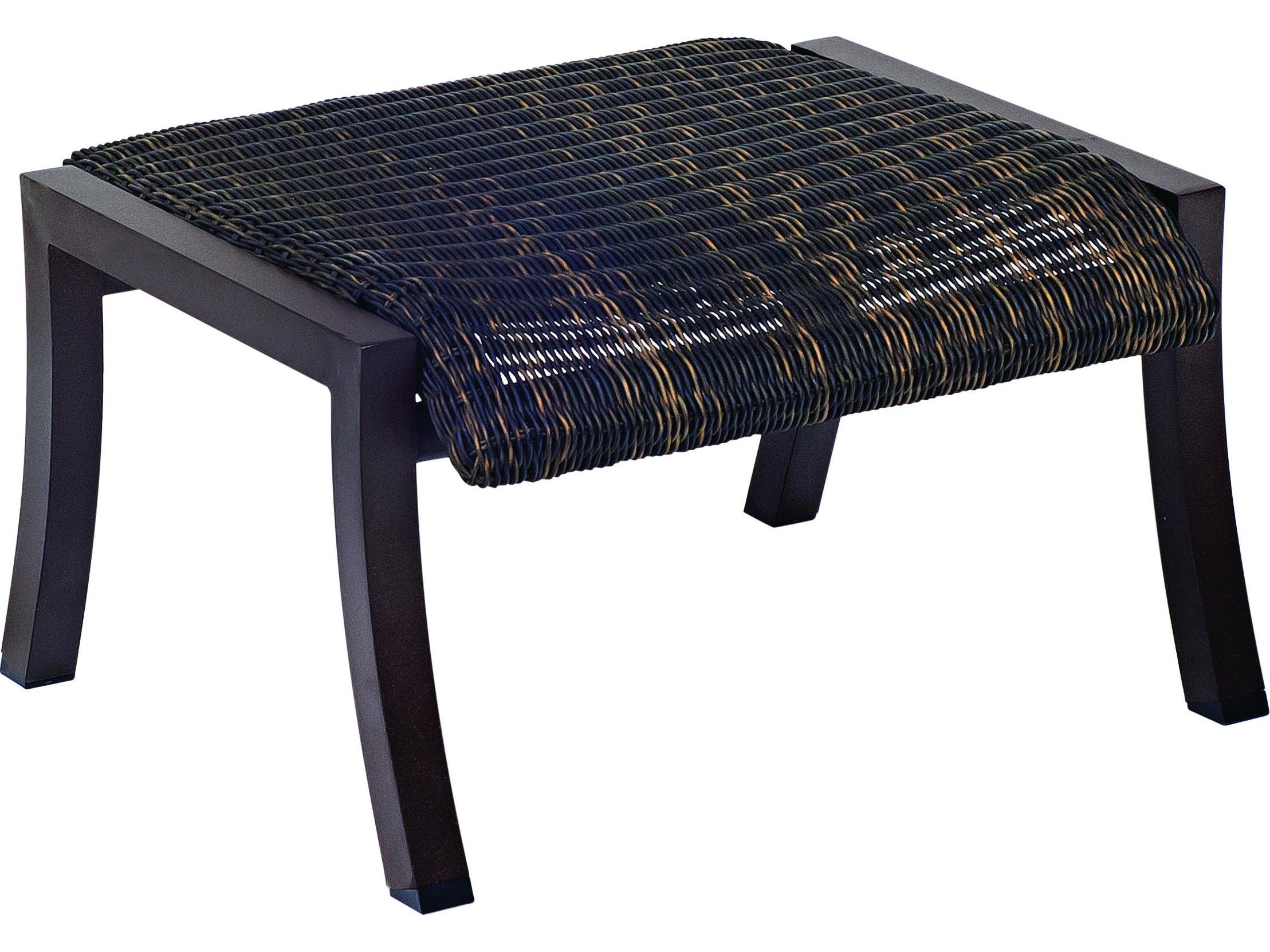 Woodard Cortland Woven Round Weave Wicker Ottoman 5v0486