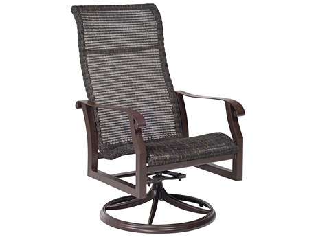 Woodard Cortland Woven Round Weave Wicker High Back Swivel Rocker