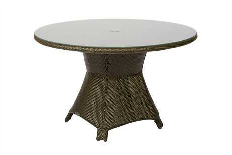Woodard Trinidad Wicker 48 Round Glass Top Table with Umbrella Hole