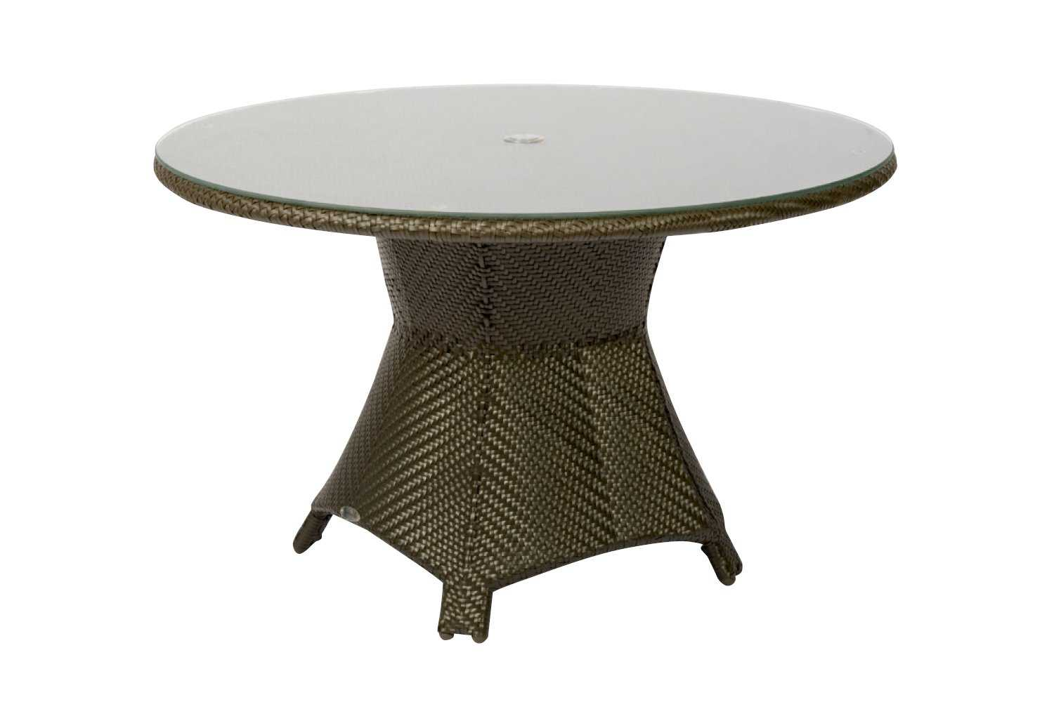 Marvelous photograph of Woodard Trinidad Wicker 48 Round Glass Top Table with Umbrella Hole  with #3C3524 color and 1500x1000 pixels