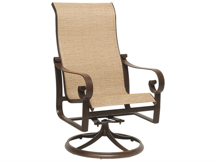 Woodard Belden Sling Aluminum High Back Swivel Rocker PatioLiving