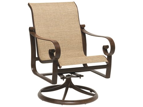 Woodard Belden Sling Aluminum Swivel Rocker Dining Arm Chair