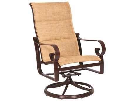 Woodard Belden Padded Sling Aluminum High Back Swivel Rocker Dining Arm Chair