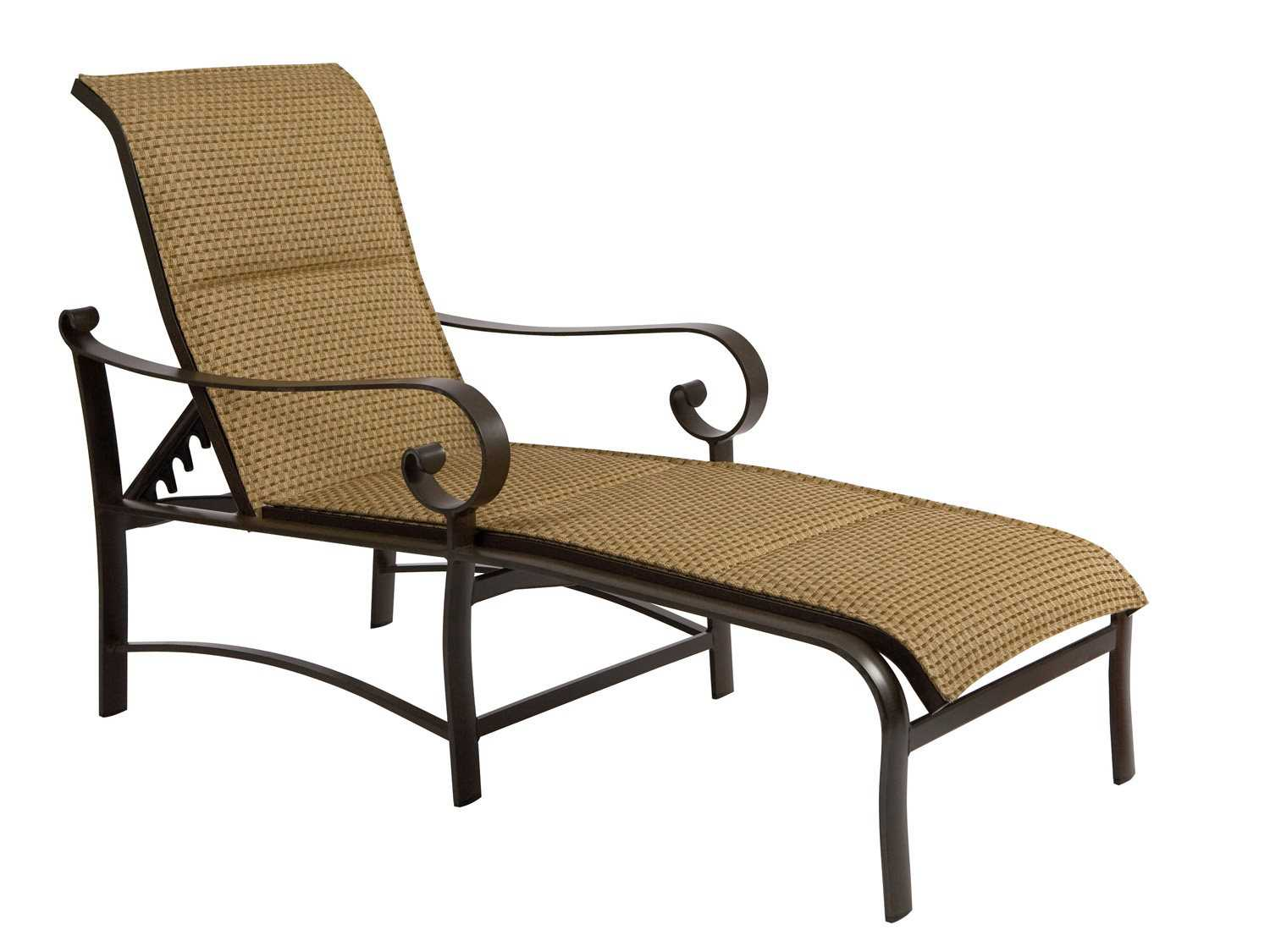 Woodard belden padded sling aluminum adjustable chaise for Aluminum chaise lounges