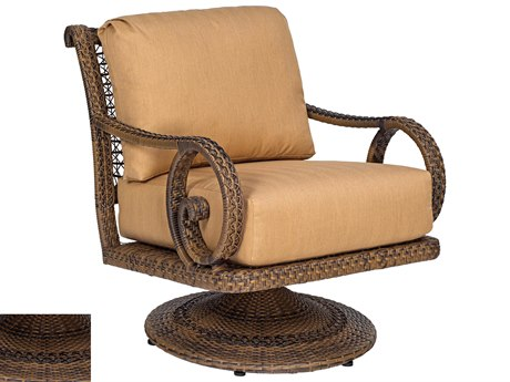 Woodard South Shore Wicker Swivel Rocking Lounge Chair